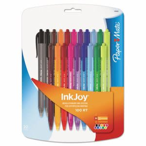 Paper Mate InkJoy Retractable Ballpoint Pen, Assorted, 20/Pack (PAP1951396)