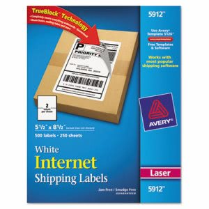 Avery Shipping Labels with TrueBlock Technology, White, 500/Box (AVE5912)