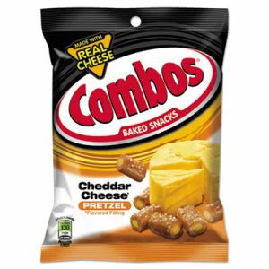 Combos Baked Snacks, 6.3 oz Bag, Cheddar Cheese Pretzel, 12/Carton (CBO42005)