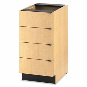 Hon Hospitality Single Base Cabinet, 4 Drawers, 18w x 25d x 36h, Natural Maple (HONHPBC4D18D)