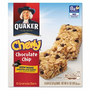 Quaker Granola Bars, Chewy Chocolate Chip, 8/Box, 12 Boxes (QKR11827)