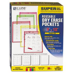 C-line Reusable Dry Erase Pockets, 9 x 12, Assorted Neon, 25 per Box (CLI40820)