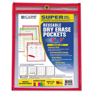 "C-Line Reusable Dry Erase Pockets, 6"" x 9"", 10 Assorted Neon Colors (CLI41810)"