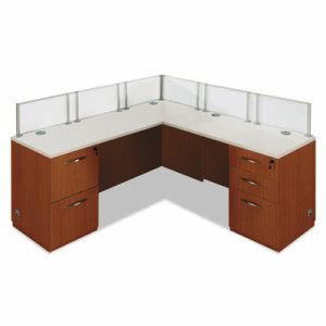 "Dmi Causeway Series Single ""L"" Workstation, 72w x 72d x 30h, Honey Maple/White (DMI7041WLD003)"