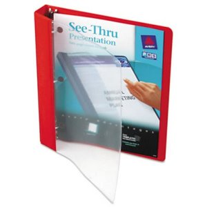 "Avery See-Thru Presentation Binder, Round Ring, 1"" Capacity, Red (AVE10853)"
