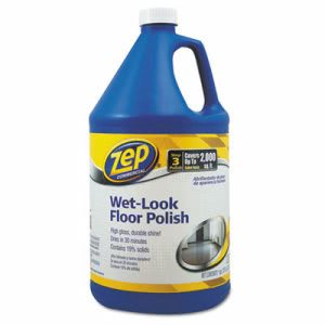 Zep Commercial Wet Look Floor Polish, 1 gal Bottle (ZPEZUWLFF128EA)