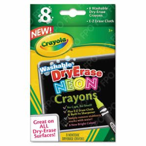 Crayola Washable Dry Erase Crayons w/E-Z Erase Cloth, 8 Neon Colors (CYO988605)