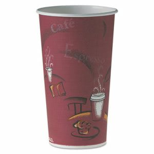Solo Cup Polycoated Hot Paper Cups, 20 oz, Bistro Design, 600 Cups (SCC420SI)