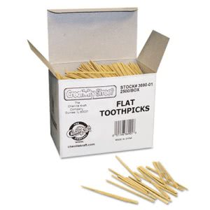 Chenille Kraft Flat Wooden Toothpicks, 2500 Toothpicks (CKC369001)
