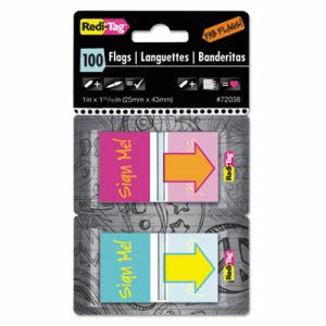 "Redi-Tag Pop-Up Flags with Dispenser, ""Sign Me!"", 100 Flags (RTG72038)"