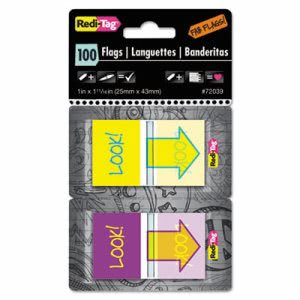 "Redi-Tag Pop-Up Fab Flags with Dispenser, ""Look!"", 100 Flags (RTG72039)"