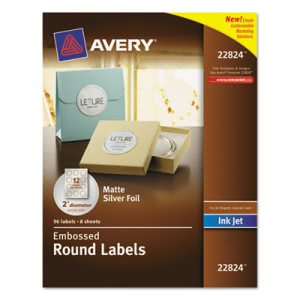 "Avery Round Easy Peel Labels, 2"" Dia., Silver, 96/Pack (AVE22824)"