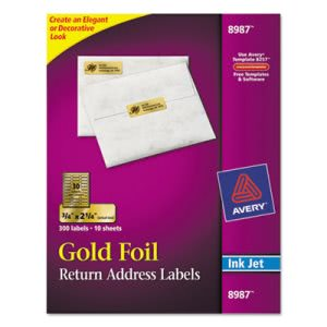 Avery Foil Mailing Labels, 3/4 x 2-1/4, Gold, 300/Pack (AVE8987)