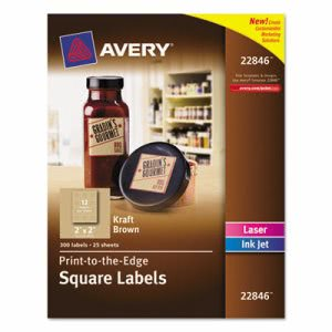 Avery Square Print-to-the-Edge Labels, 2 x 2, Kraft Brown, 300 Labels (AVE22846)