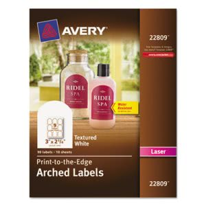 Avery Textured Arched Easy Peel Labels, 3 x 2-1/4, White, 90/Pack (AVE22809)