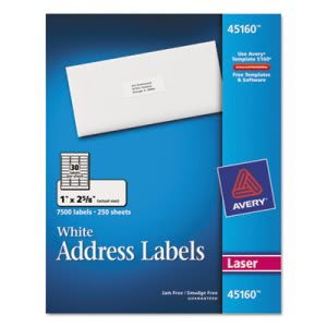 Avery Address Labels, 1 x 2-5/8, White, 7500/Box (AVE45160)