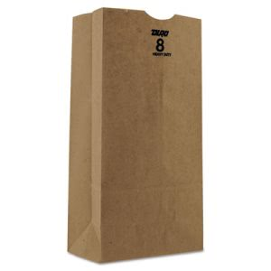 Duro Bag Kraft Paper Bags, Heavy-Duty, 8 lb., Brown, 500/Bundle (BAGGH8500)