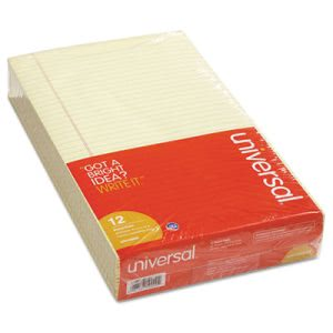 Universal Glue Top Writing Pads, Wide Rule, Legal, Canary, 12 Pads (UNV50000)