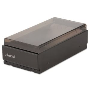 Universal Metal and Plastic Business Card File, Black and Smoke (UNV10601)