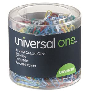 Universal Paper Clips, Vinyl Coated Wire, No. 1, Assorted, 500/Pack (UNV95001)