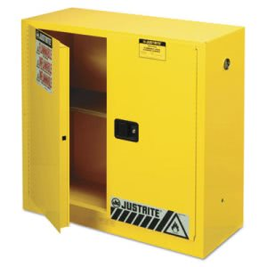 Justrite Sure-Grip EX Standard Safety Cabinet, 43w x 18d x 44h, Yellow (JUS893000)
