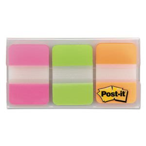 Post-it Durable File Tabs, 1 x 1 1/2, Assorted Colors, 66/Pack (MMM686PGO)