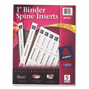 "Avery Custom Binder Spine Inserts, 1"" Spine Width, 8 Inserts/Sheet, 5 Sheets/Pack (AVE89103)"
