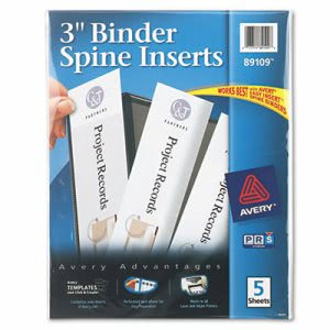 "Avery Custom Binder Spine Inserts, 3"" Spine Width, 3 Inserts/Sheet, 5 Sheets/Pack (AVE89109)"
