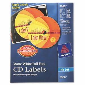 Avery Inkjet Full-Face CD Labels, Matte White, 40/Pack (AVE8960)