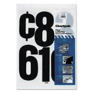 "Chartpak Press-On Vinyl Numbers, Self Adhesive, Black, 6""h, 21/Pack (CHA01198)"
