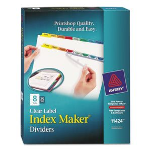 Avery Index Maker Divider w/Multicolor Tabs, 8-Tab, 25 Sets per Box (AVE11424)