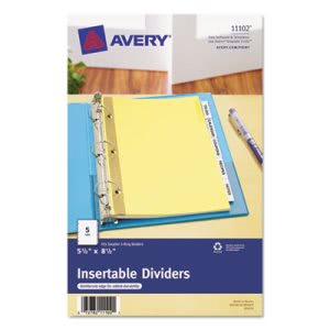 Avery WorkSaver Insertable Tab Index Dividers, Clear, 5 Tabs (AVE11102)