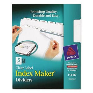 Avery Index Maker Clear Label Dividers, 5-Tab, Letter, White (AVE11416)