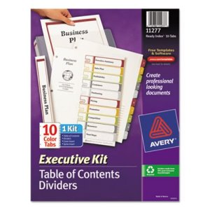 Avery Ready Index Contents Divider, 1-10, Letter, Multicolor, 10 Tabs (AVE11277)