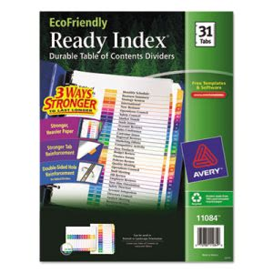 Avery Table of Contents 31-Tab Dividers, 1-31, Letter, 31 Dividers (AVE11084)