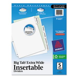 Avery WorkSaver Big Tab Extrawide Dividers, 5-Tab, 9 x 11, White (AVE11221)