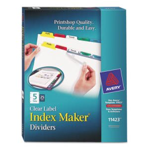 Avery Index Maker Divider w/Multicolor Tabs, Letter, 25 Sets/BX (AVE11423)