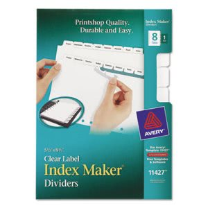 Avery Index Maker Dividers, White 8-Tab, Letter (AVE11427)