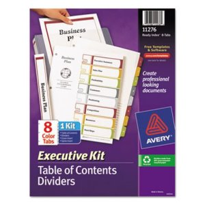 Avery 8-Tab Contents Dividers, Letter, Multicolor, Set of 8 (AVE11276)