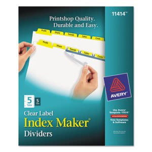 Avery Yellow 5-Tab Letter Index Maker Divider w/Color Tabs, 5 Sets/Pk (AVE11414)