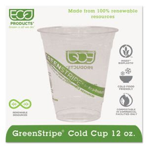 Eco-products GreenStripe Cold Drink Cups, 12oz, Clear, 1000/Carton (ECOEPCC12GS)