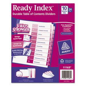 Avery Ready Index Table/Contents Dividers, 10-Tab, 24 Sets per Box (AVE11169)