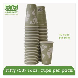 World Art Renewable Resource Compostable Hot Cups, 16 oz, Seafoam Green, 50/Pack (ECOEPBHC16WAPK)