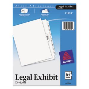 Avery-Style Legal Side Tab Divider, Title: A-Z, Letter, White, 1 Set (AVE11374)