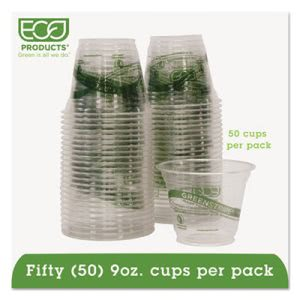 GreenStripe Compostable 9 oz. Cold Drink Cups, Clear, 50 Cups (ECOEPCC9SGSPK)