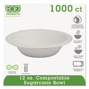 Eco-Products Compostable Dinnerware, 12 oz. Bowl, White, 1000 Plates (ECOEPBL12)