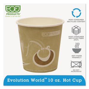 Eco-products World Hot Drink Cups, 10 oz., Tan, 1000 per Carton (ECOEPBRHC10EW)