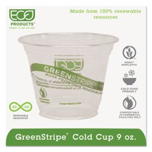 GreenStripe Renewable Cold Drink Cups, 9 oz, Clear, 1000 Cups (ECOEPCC9SGS)