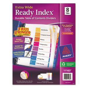 Avery Extra-Wide Ready Index Dividers, 8-Tab, Assorted, 8/Set (AVE11163)