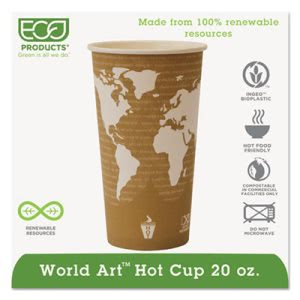 Renewable Resource Hot Drink Cups, 20 oz, Tan, 1,000 per Carton (ECOEPBHC20WA)